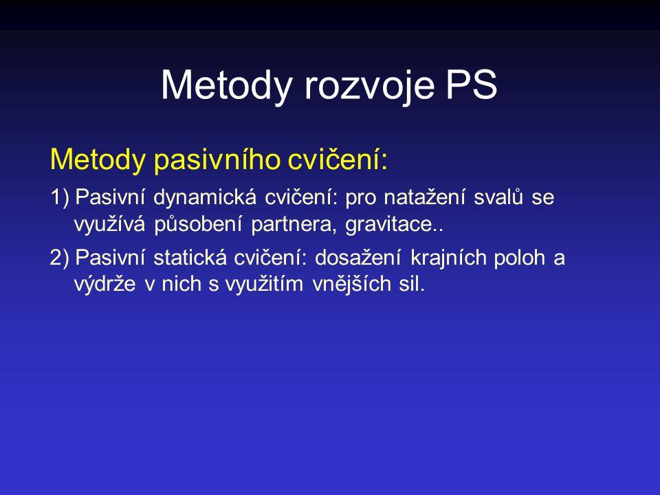 Metody rozvoje PS Metody pasivního cvičení: 1) Pasivní dynamická cvičení: pro natažení svalů se využívá působení partnera, gravitace.. 2) Pasivní stat