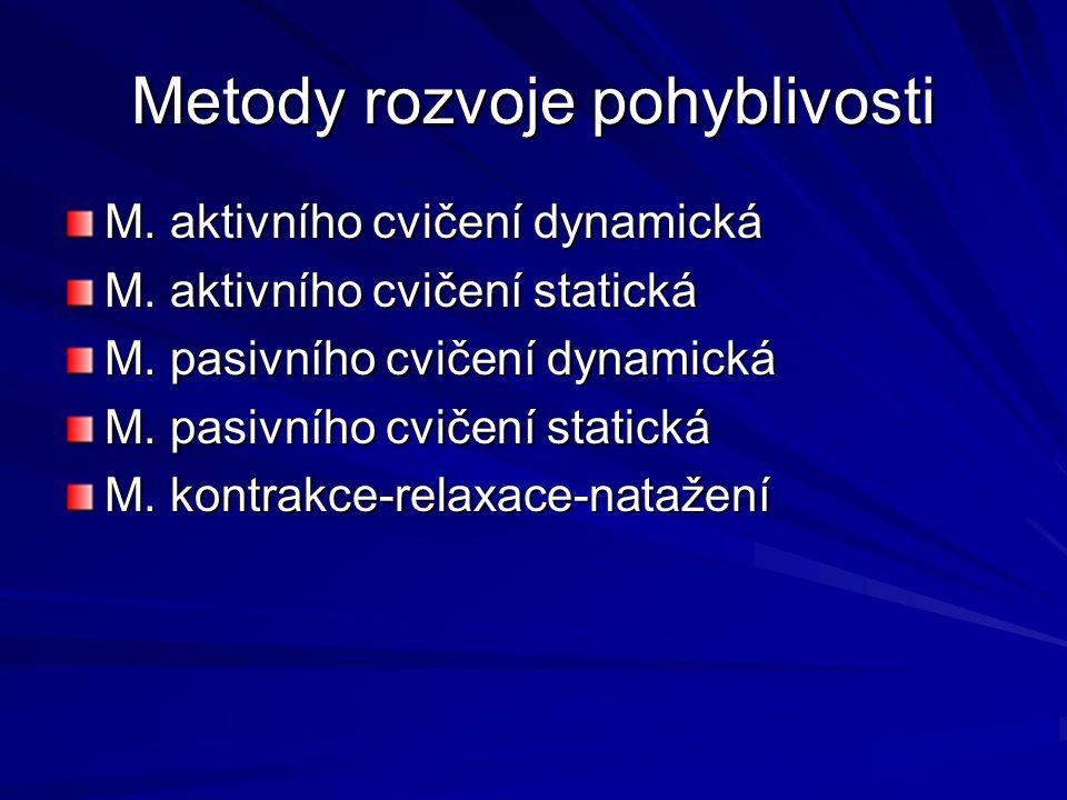 Metody rozvoje pohyblivosti M.aktivního cvičení dynamická M.