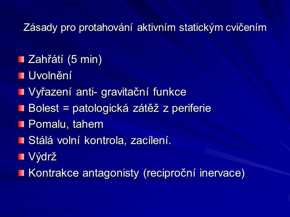 Zásady pro protahování aktivním statickým cvičením Zahřátí (5 min) Uvolnění Vyřazení anti- gravitační funkce Bolest = patologická zátěž z periferie Pomalu, tahem Stálá volní kontrola, zacílení.