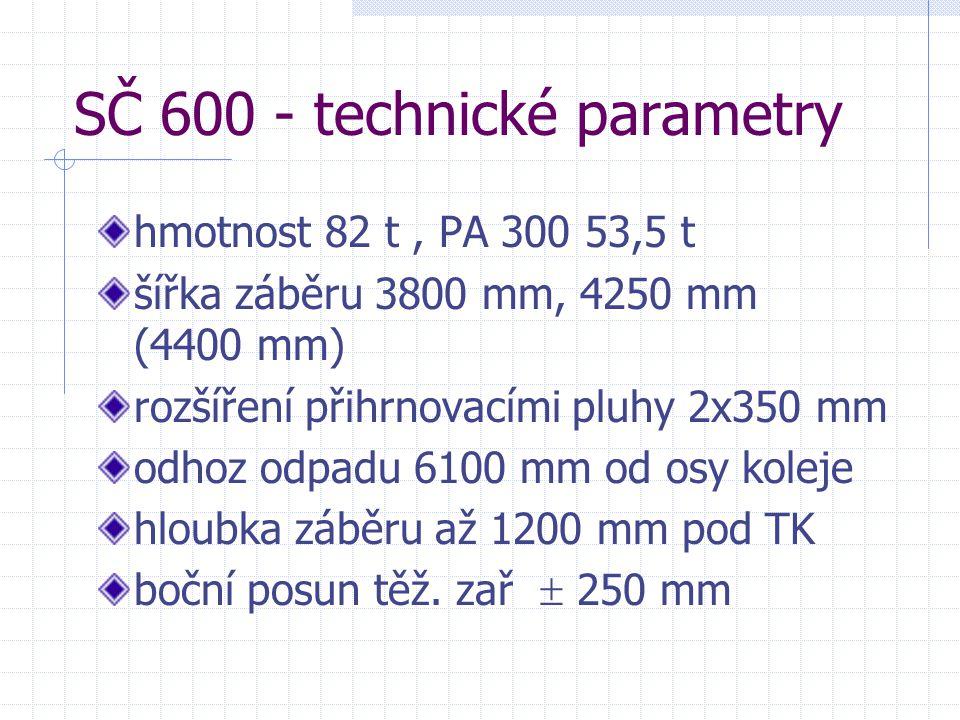 SČ 600 - technické parametry hmotnost 82 t, PA 300 53,5 t šířka záběru 3800 mm, 4250 mm (4400 mm) rozšíření přihrnovacími pluhy 2x350 mm odhoz odpadu