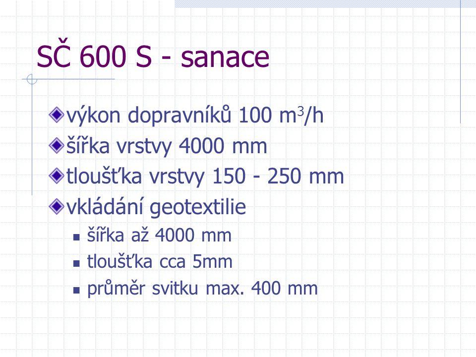 SČ 600 S - sanace výkon dopravníků 100 m 3 /h šířka vrstvy 4000 mm tloušťka vrstvy 150 - 250 mm vkládání geotextilie šířka až 4000 mm tloušťka cca 5mm