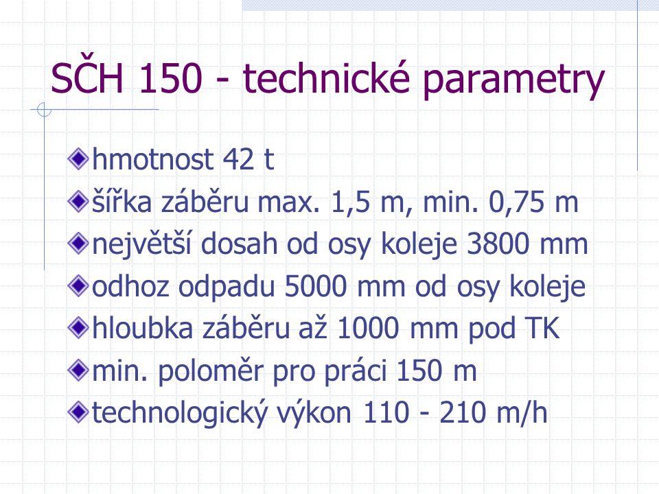 SČH 150 - technické parametry hmotnost 42 t šířka záběru max. 1,5 m, min. 0,75 m největší dosah od osy koleje 3800 mm odhoz odpadu 5000 mm od osy kole
