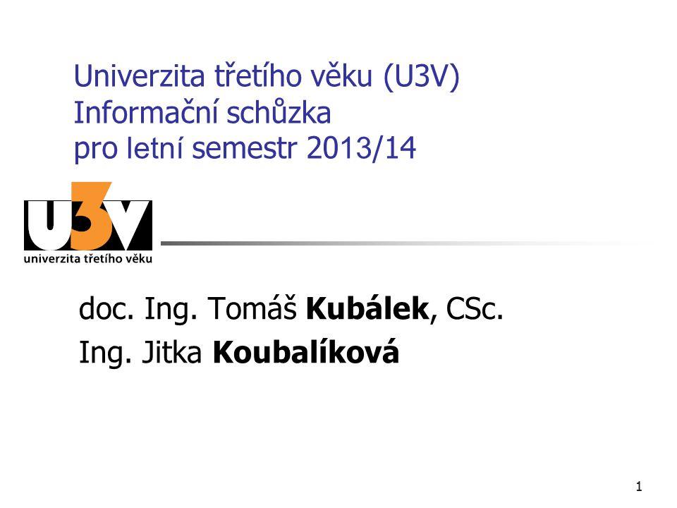 11 Univerzita třetího věku (U3V) Informační schůzka pro letní semestr 20 13 /14 doc. Ing. Tomáš Kubálek, CSc. Ing. Jitka Koubalíková