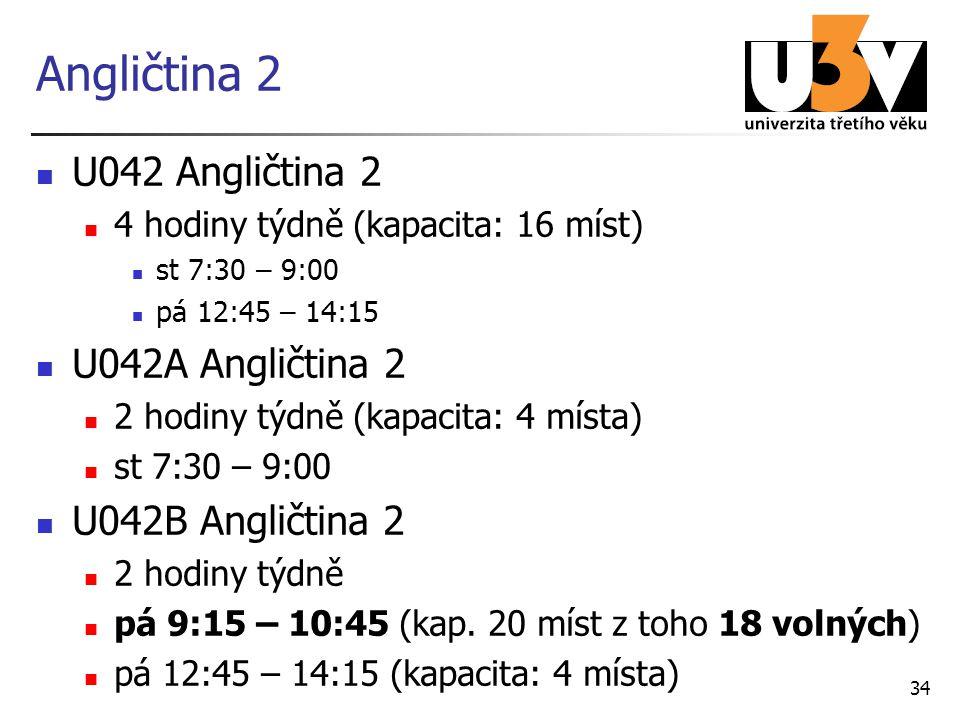 Angličtina 2 U042 Angličtina 2 4 hodiny týdně (kapacita: 16 míst) st 7:30 – 9:00 pá 12:45 – 14:15 U042A Angličtina 2 2 hodiny týdně (kapacita: 4 místa