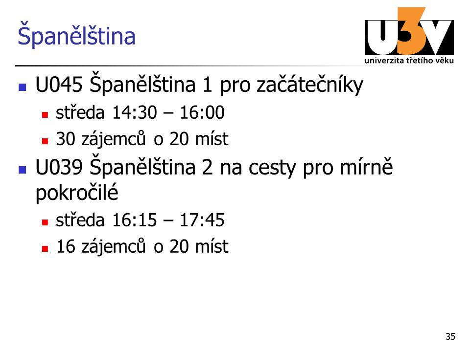Španělština U045 Španělština 1 pro začátečníky středa 14:30 – 16:00 30 zájemců o 20 míst U039 Španělština 2 na cesty pro mírně pokročilé středa 16:15 – 17:45 16 zájemců o 20 míst 35