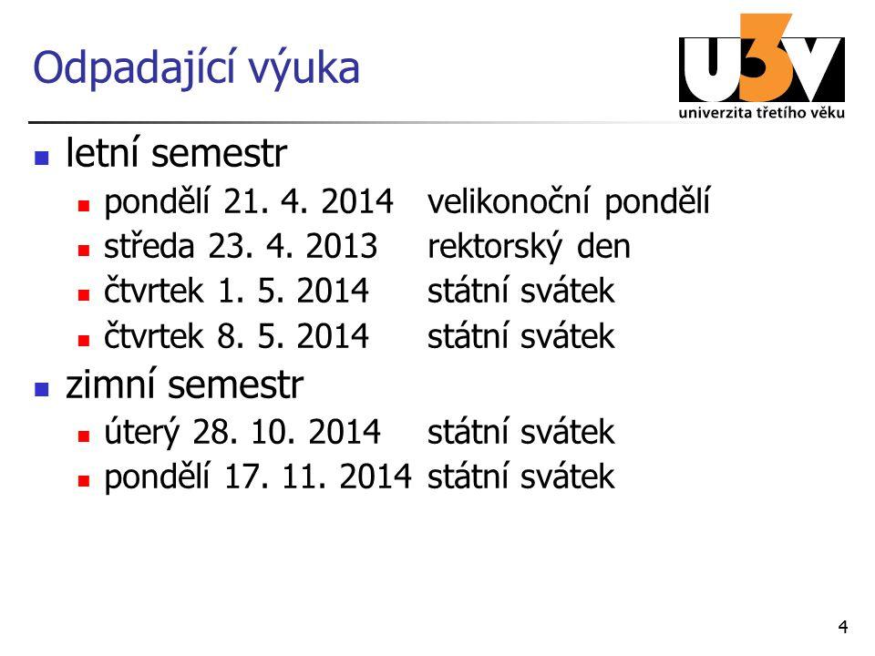 44 Odpadající výuka letní semestr pondělí 21. 4. 2014velikonoční pondělí středa 23. 4. 2013rektorský den čtvrtek 1. 5. 2014státní svátek čtvrtek 8. 5.