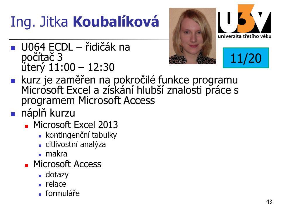 Ing. Jitka Koubalíková U064 ECDL – řidičák na počítač 3 úterý 11:00 – 12:30 kurz je zaměřen na pokročilé funkce programu Microsoft Excel a získání hlu