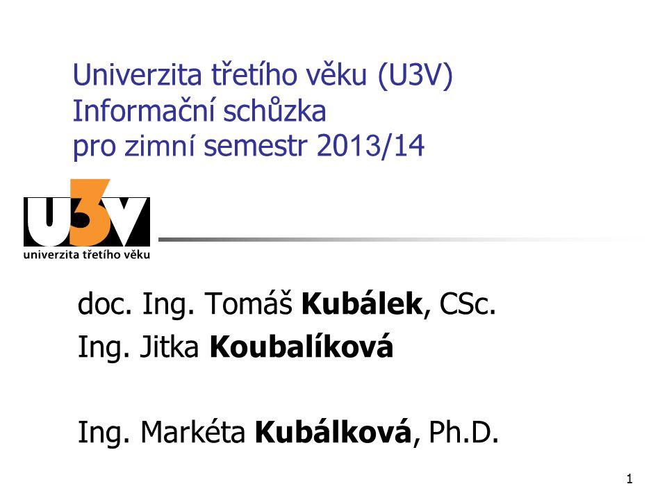 11 Univerzita třetího věku (U3V) Informační schůzka pro zimní semestr 20 13 /14 doc. Ing. Tomáš Kubálek, CSc. Ing. Jitka Koubalíková Ing. Markéta Kubá