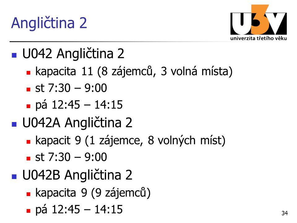 Angličtina 2 U042 Angličtina 2 kapacita 11 (8 zájemců, 3 volná místa) st 7:30 – 9:00 pá 12:45 – 14:15 U042A Angličtina 2 kapacit 9 (1 zájemce, 8 volný