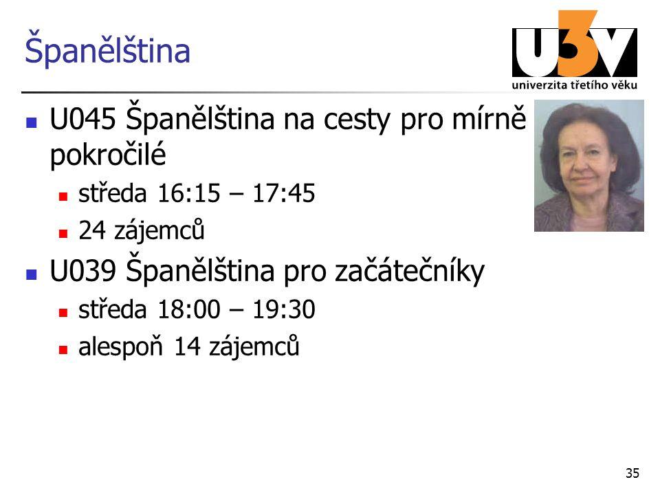 Španělština U045 Španělština na cesty pro mírně pokročilé středa 16:15 – 17:45 24 zájemců U039 Španělština pro začátečníky středa 18:00 – 19:30 alespo