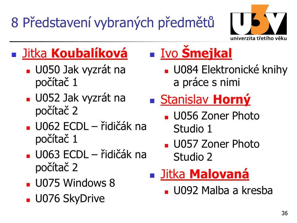 8 Představení vybraných předmětů Jitka Koubalíková Jitka Koubalíková U050 Jak vyzrát na počítač 1 U052 Jak vyzrát na počítač 2 U062 ECDL – řidičák na