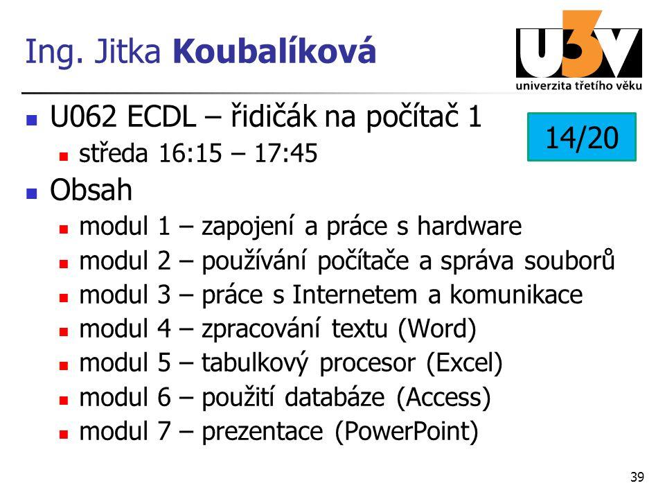 Ing. Jitka Koubalíková U062 ECDL – řidičák na počítač 1 středa 16:15 – 17:45 Obsah modul 1 – zapojení a práce s hardware modul 2 – používání počítače