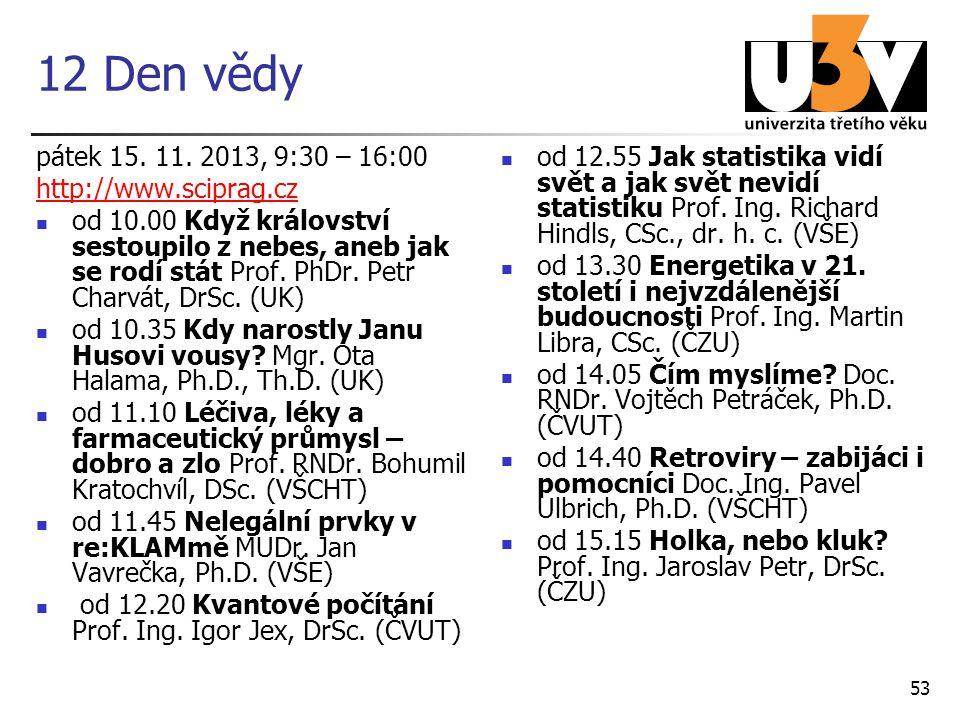 12 Den vědy pátek 15. 11. 2013, 9:30 – 16:00 http://www.sciprag.cz od 10.00 Když království sestoupilo z nebes, aneb jak se rodí stát Prof. PhDr. Petr