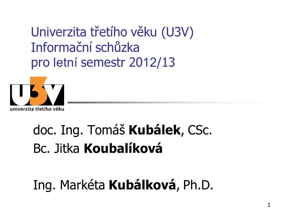 11 Univerzita třetího věku (U3V) Informační schůzka pro letní semestr 20 12 /13 doc. Ing. Tomáš Kubálek, CSc. Bc. Jitka Koubalíková Ing. Markéta Kubál