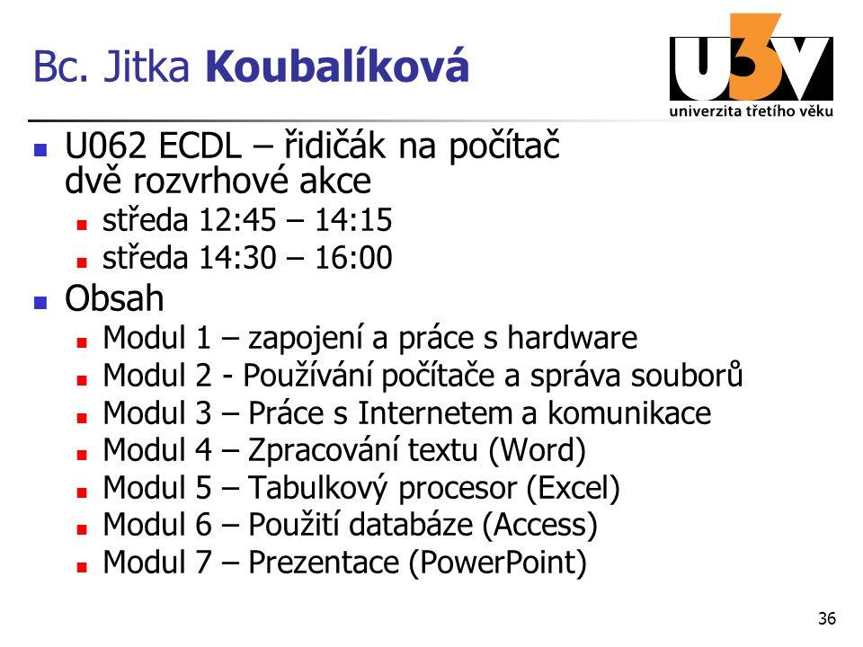 Bc. Jitka Koubalíková U062 ECDL – řidičák na počítač dvě rozvrhové akce středa 12:45 – 14:15 středa 14:30 – 16:00 Obsah Modul 1 – zapojení a práce s h