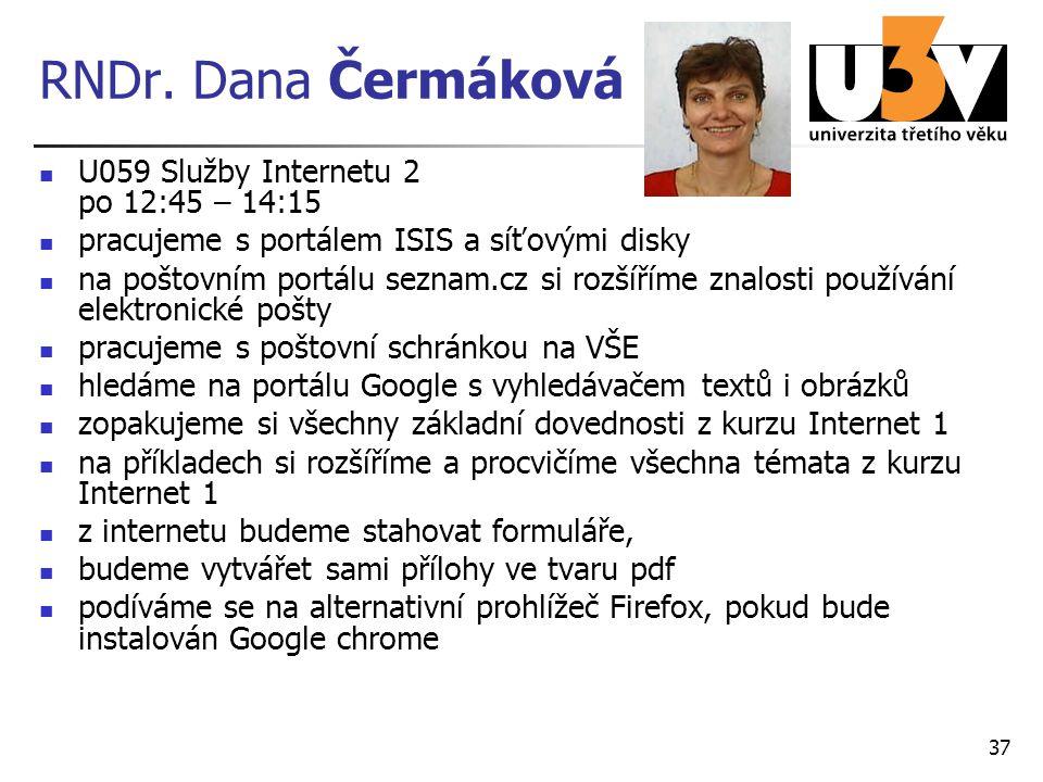 RNDr. Dana Čermáková U059 Služby Internetu 2 po 12:45 – 14:15 pracujeme s portálem ISIS a síťovými disky na poštovním portálu seznam.cz si rozšíříme z