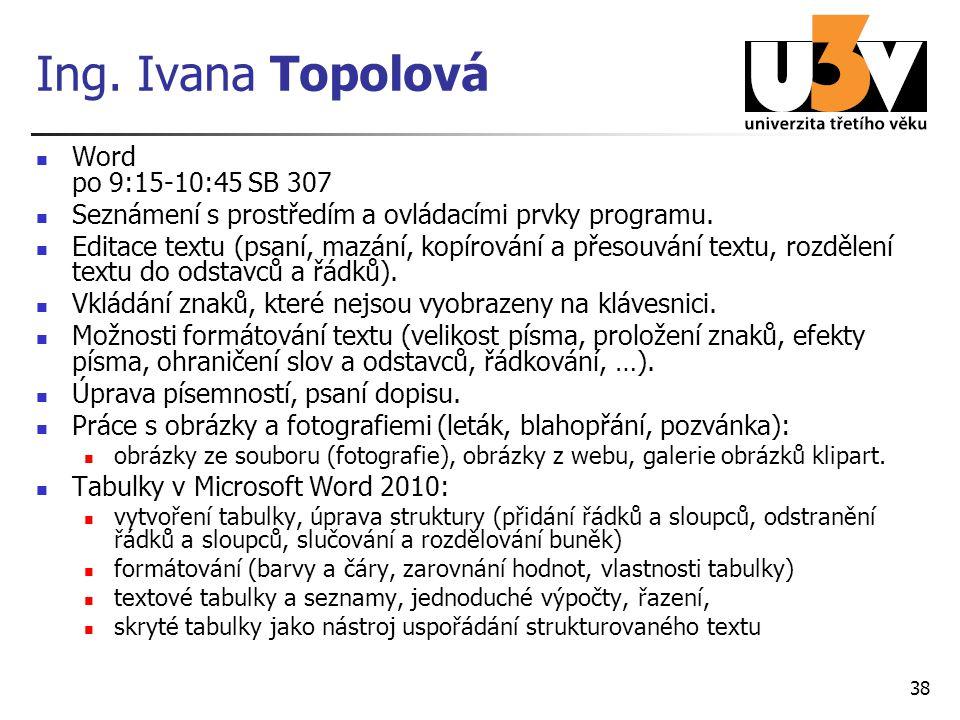 Ing. Ivana Topolová Word po 9:15-10:45 SB 307 Seznámení s prostředím a ovládacími prvky programu. Editace textu (psaní, mazání, kopírování a přesouván