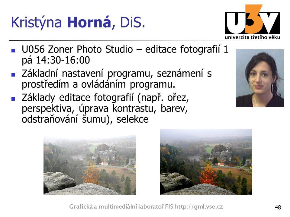 Kristýna Horná, DiS. U056 Zoner Photo Studio – editace fotografií 1 pá 14:30-16:00 Základní nastavení programu, seznámení s prostředím a ovládáním pro