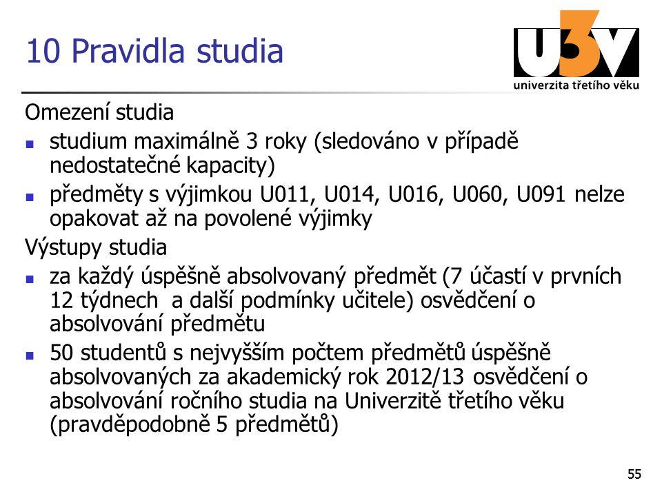 55 10 Pravidla studia Omezení studia studium maximálně 3 roky (sledováno v případě nedostatečné kapacity) předměty s výjimkou U011, U014, U016, U060,