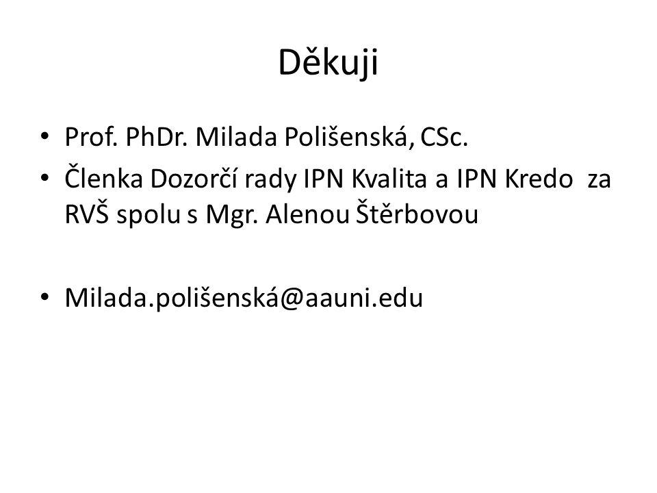 Děkuji Prof. PhDr. Milada Polišenská, CSc. Členka Dozorčí rady IPN Kvalita a IPN Kredo za RVŠ spolu s Mgr. Alenou Štěrbovou Milada.polišenská@aauni.ed