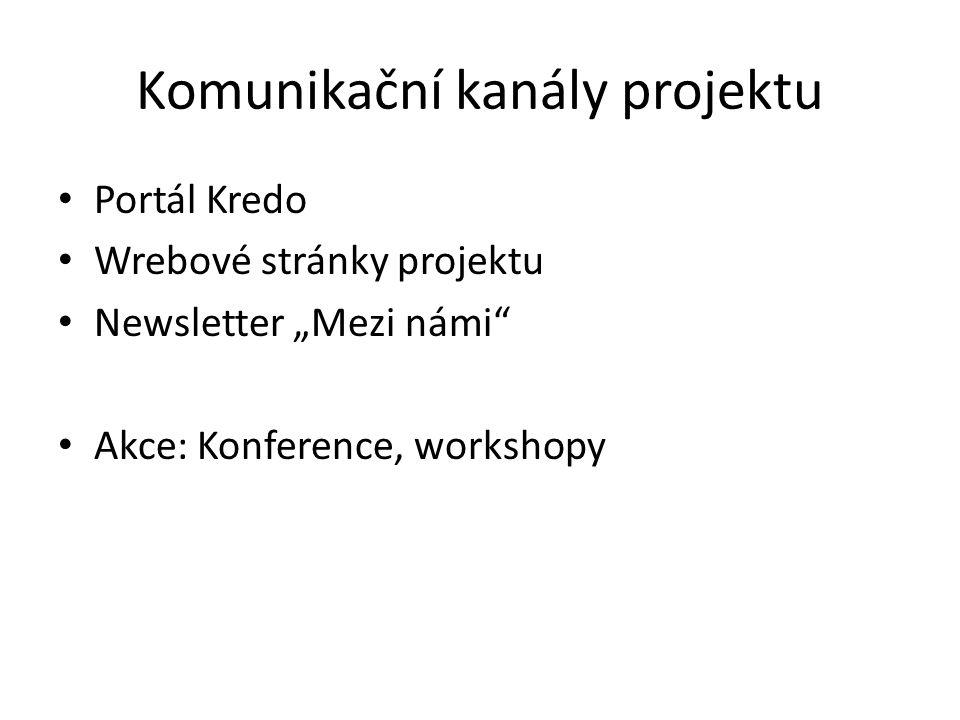 """Komunikační kanály projektu Portál Kredo Wrebové stránky projektu Newsletter """"Mezi námi Akce: Konference, workshopy"""