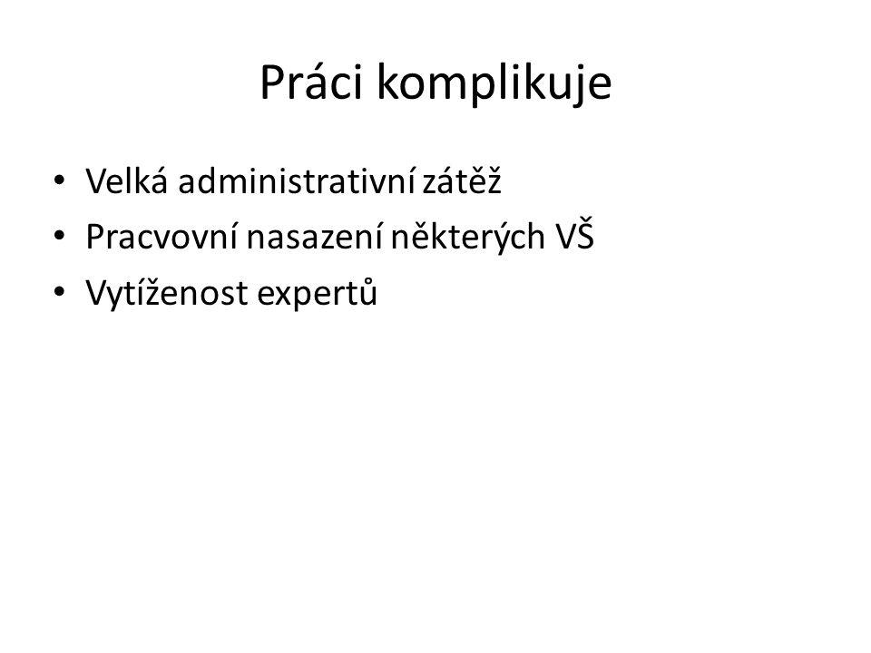 Práci komplikuje Velká administrativní zátěž Pracvovní nasazení některých VŠ Vytíženost expertů