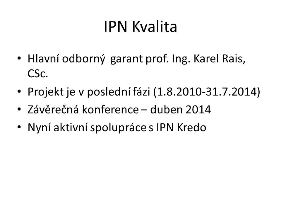 IPN Kvalita Hlavní odborný garant prof. Ing. Karel Rais, CSc. Projekt je v poslední fázi (1.8.2010-31.7.2014) Závěrečná konference – duben 2014 Nyní a