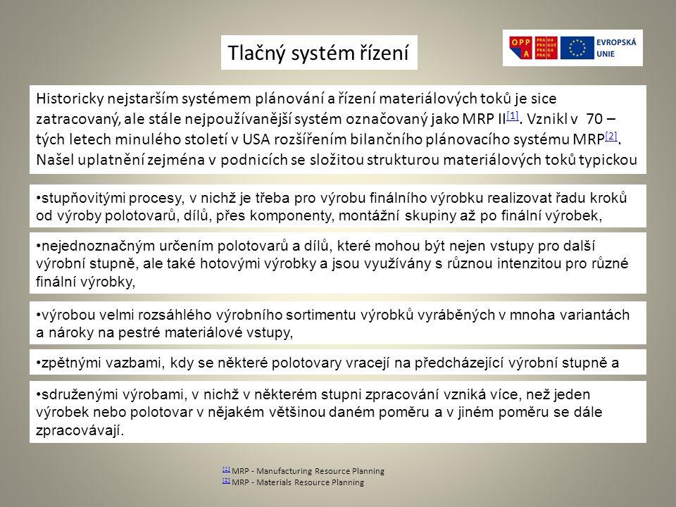 [1] [1] MRP - Manufacturing Resource Planning [2] [2] MRP - Materials Resource Planning Tlačný systém řízení Historicky nejstarším systémem plánování a řízení materiálových toků je sice zatracovaný, ale stále nejpoužívanější systém označovaný jako MRP II [1].
