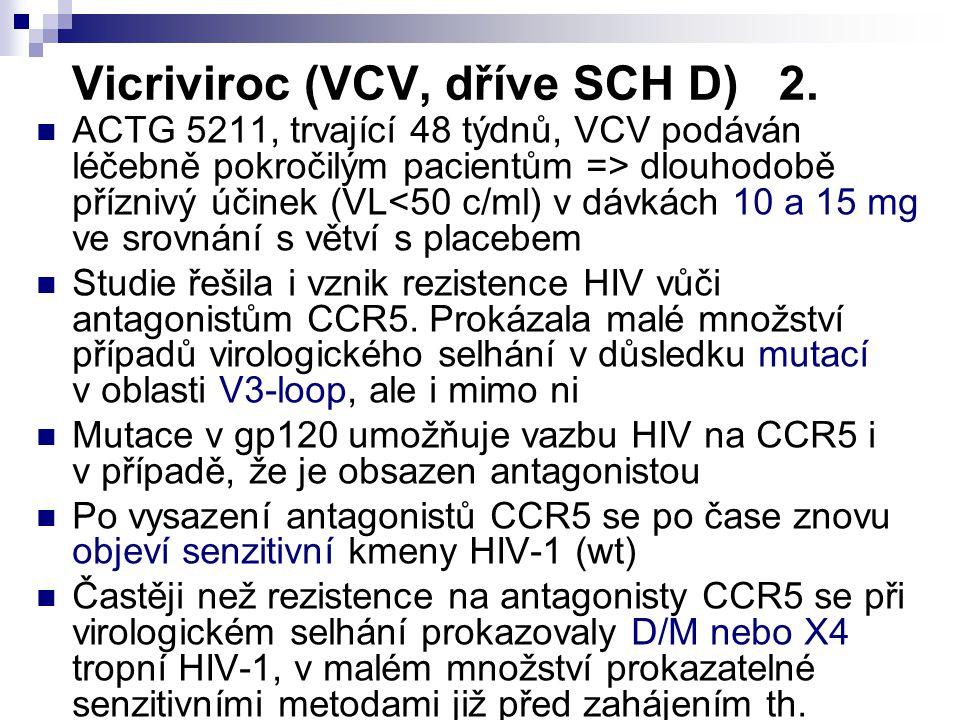 Vicriviroc (VCV, dříve SCH D) 2. ACTG 5211, trvající 48 týdnů, VCV podáván léčebně pokročilým pacientům => dlouhodobě příznivý účinek (VL<50 c/ml) v d