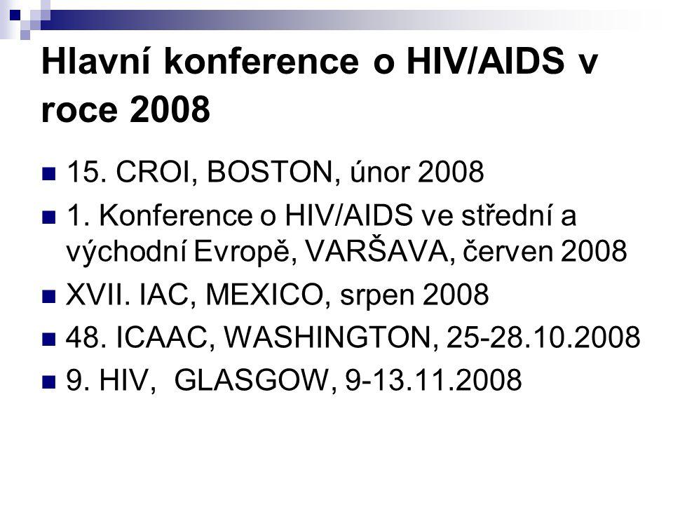 Hlavní konference o HIV/AIDS v roce 2008 15. CROI, BOSTON, únor 2008 1. Konference o HIV/AIDS ve střední a východní Evropě, VARŠAVA, červen 2008 XVII.
