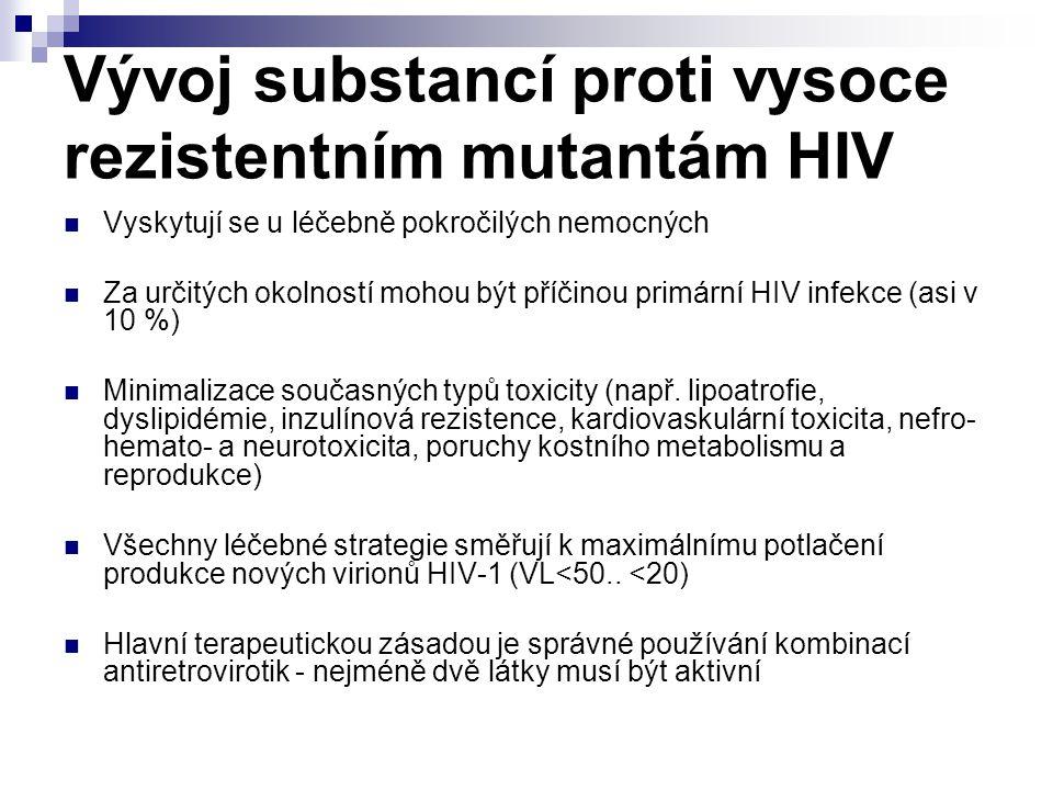 Vývoj substancí proti vysoce rezistentním mutantám HIV Vyskytují se u léčebně pokročilých nemocných Za určitých okolností mohou být příčinou primární