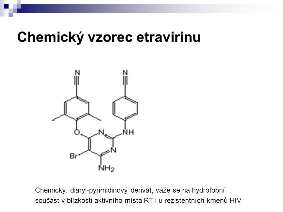 Chemický vzorec etravirinu Chemicky: diaryl-pyrimidinový derivát, váže se na hydrofobní součást v blízkosti aktivního místa RT i u rezistentních kmenů