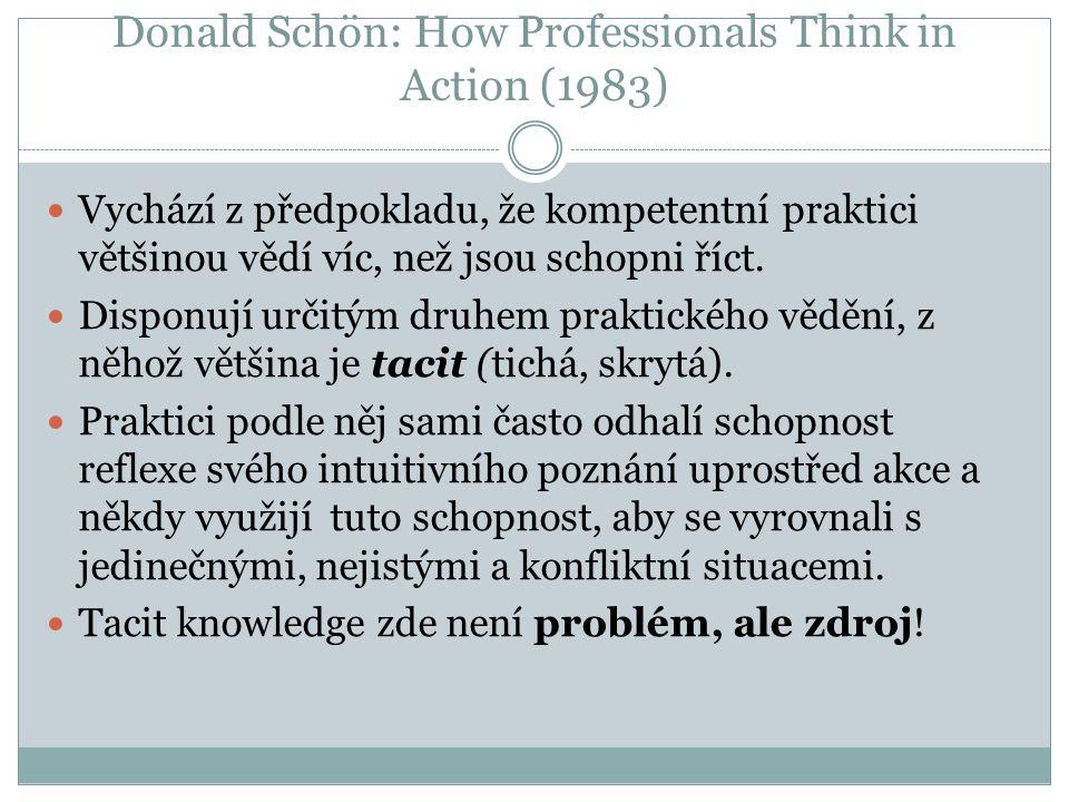 Donald Schön: How Professionals Think in Action (1983) Vychází z předpokladu, že kompetentní praktici většinou vědí víc, než jsou schopni říct. Dispon