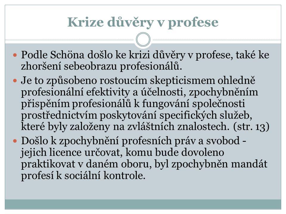 Krize důvěry v profese Podle Schöna došlo ke krizi důvěry v profese, také ke zhoršení sebeobrazu profesionálů. Je to způsobeno rostoucím skepticismem