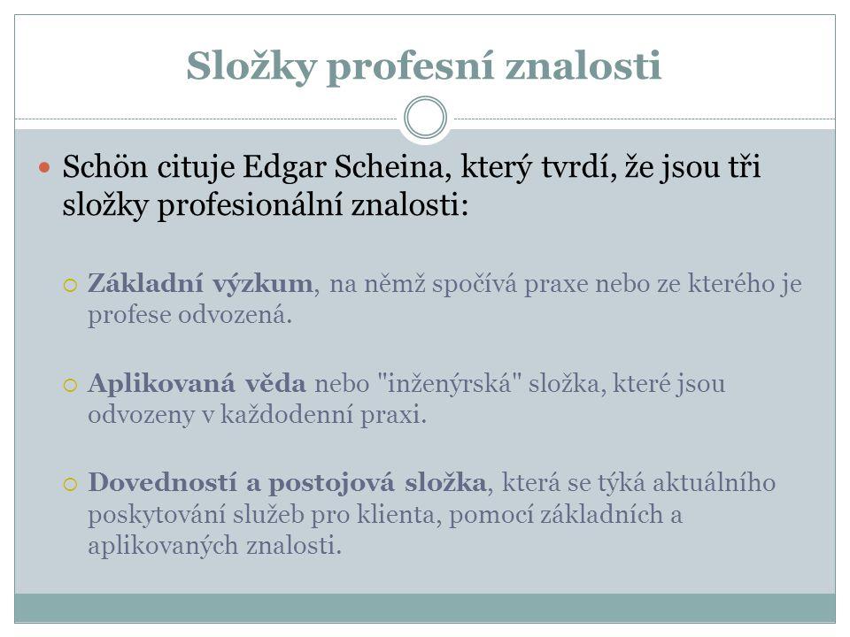 Složky profesní znalosti Schön cituje Edgar Scheina, který tvrdí, že jsou tři složky profesionální znalosti:  Základní výzkum, na němž spočívá praxe