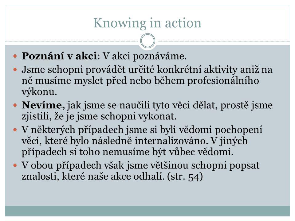 Knowing in action Poznání v akci: V akci poznáváme. Jsme schopni provádět určité konkrétní aktivity aniž na ně musíme myslet před nebo během profesion