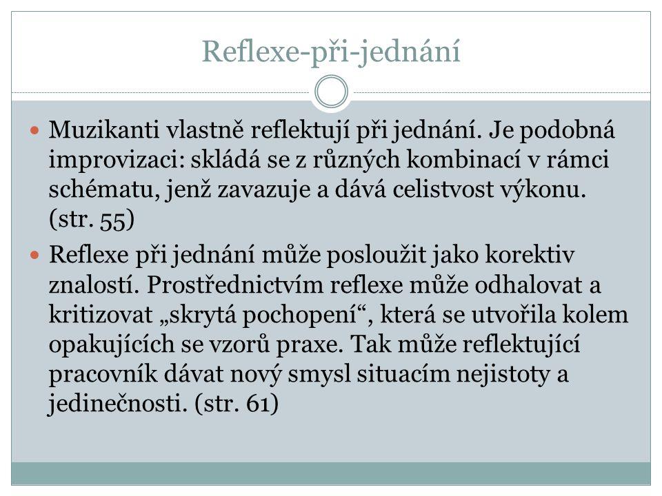 Reflexe-při-jednání Muzikanti vlastně reflektují při jednání. Je podobná improvizaci: skládá se z různých kombinací v rámci schématu, jenž zavazuje a