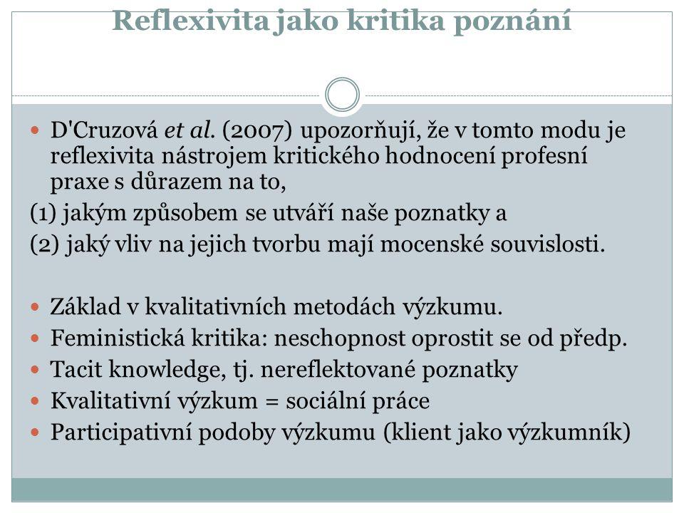 Reflexivita jako kritika poznání D'Cruzová et al. (2007) upozorňují, že v tomto modu je reflexivita nástrojem kritického hodnocení profesní praxe s dů