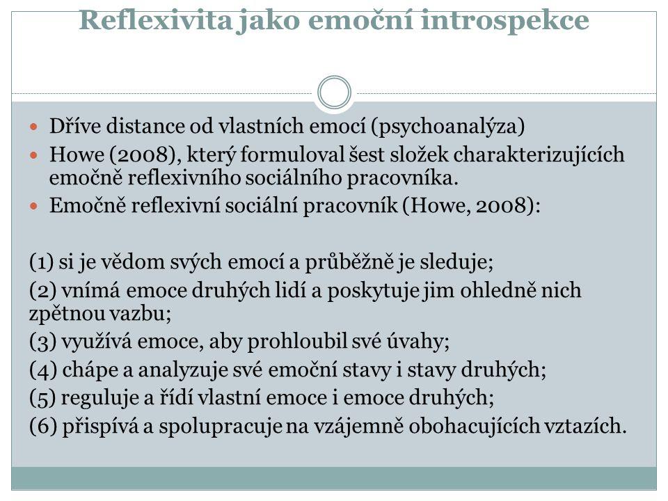 Reflexivita jako emoční introspekce Dříve distance od vlastních emocí (psychoanalýza) Howe (2008), který formuloval šest složek charakterizujících emo