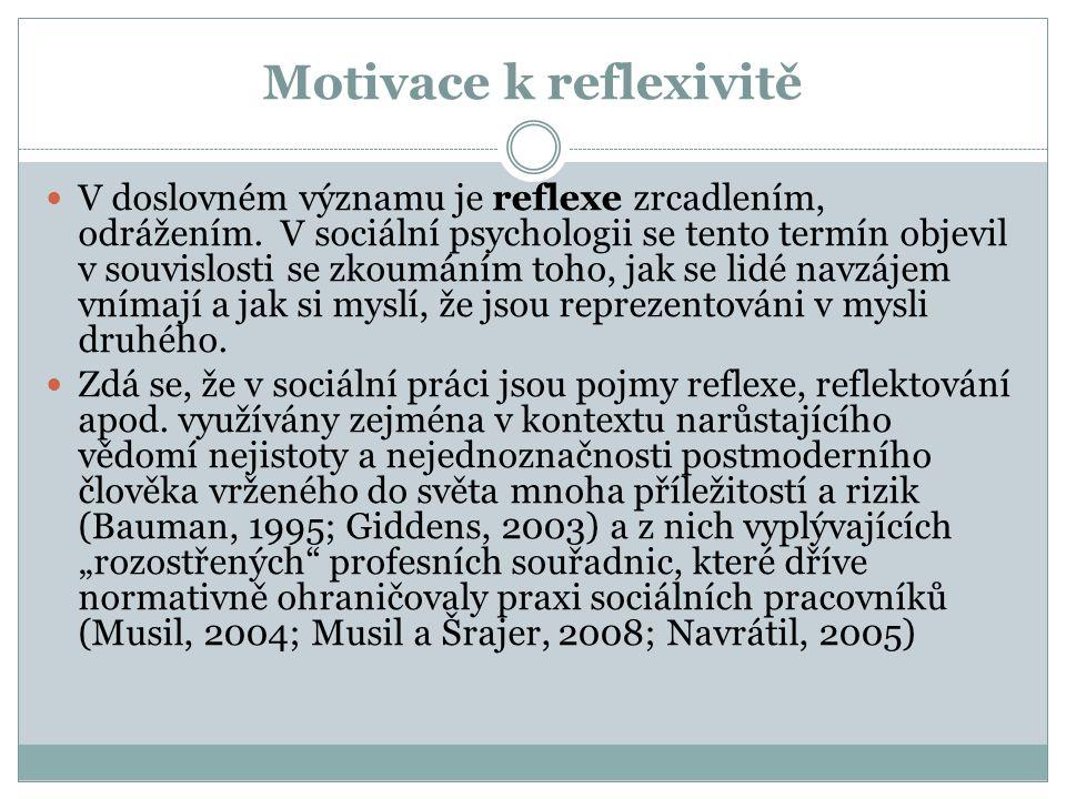Motivace k reflexivitě V doslovném významu je reflexe zrcadlením, odrážením. V sociální psychologii se tento termín objevil v souvislosti se zkoumáním