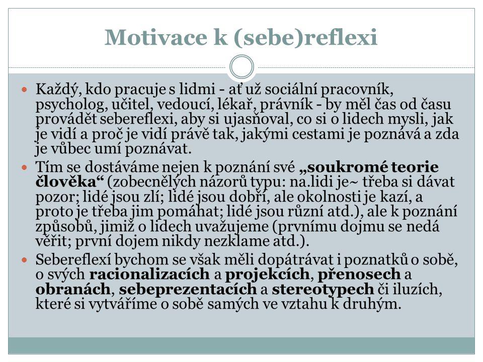Motivace k (sebe)reflexi Každý, kdo pracuje s lidmi - ať už sociální pracovník, psycholog, učitel, vedoucí, lékař, právník - by měl čas od času provád