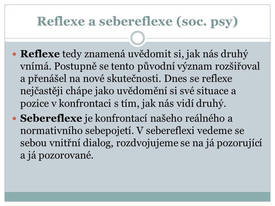 Reflexe a sebereflexe (soc. psy) Reflexe tedy znamená uvědomit si, jak nás druhý vnímá. Postupně se tento původní význam rozšiřoval a přenášel na nové