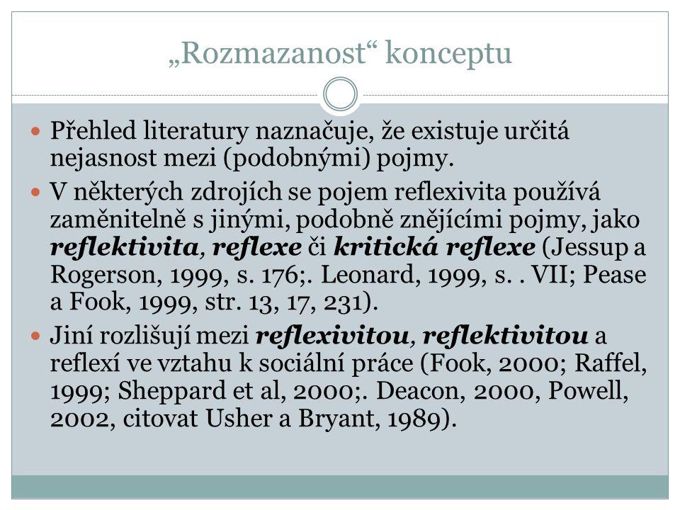 Reflexivita jako emoční introspekce Dříve distance od vlastních emocí (psychoanalýza) Howe (2008), který formuloval šest složek charakterizujících emočně reflexivního sociálního pracovníka.