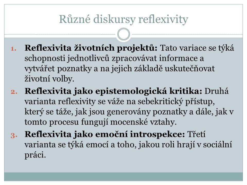 Reflexivita životních projektů Reflexivita je zde chápána jako sebedefiniční proces, který závisí na vyhodnocování a reflexi psychologických, sociálních informací o možných trajektorií života (Elliott, 2001, s.