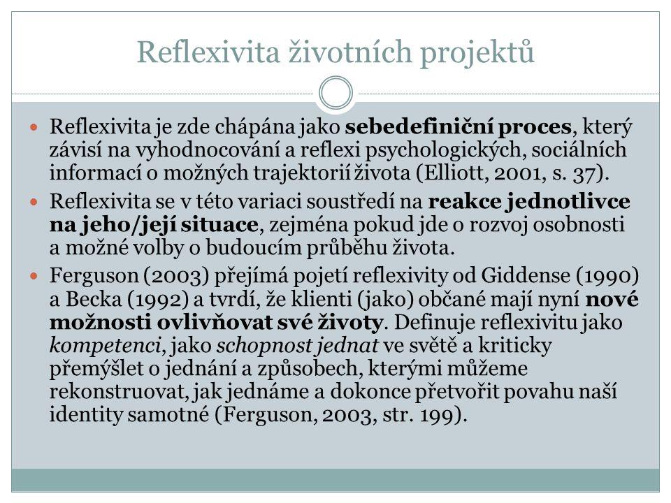 Reflexivita životních projektů Reflexivita je zde chápána jako sebedefiniční proces, který závisí na vyhodnocování a reflexi psychologických, sociální