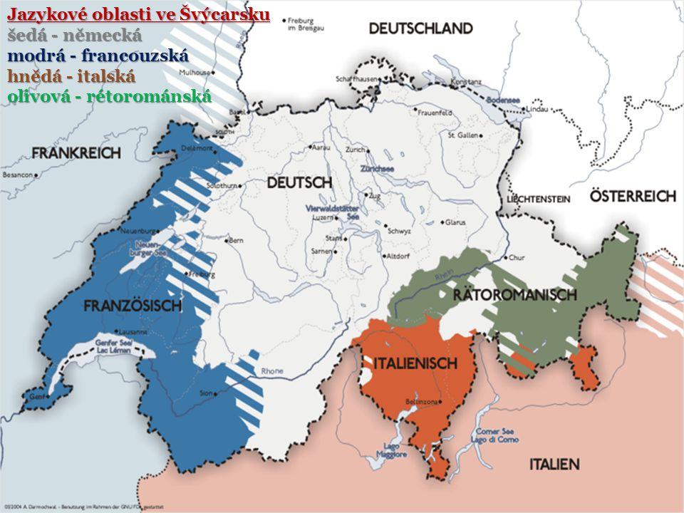 Jazykové oblasti ve Švýcarsku šedá - německá modrá - francouzská hnědá - italská olivová - rétorománská
