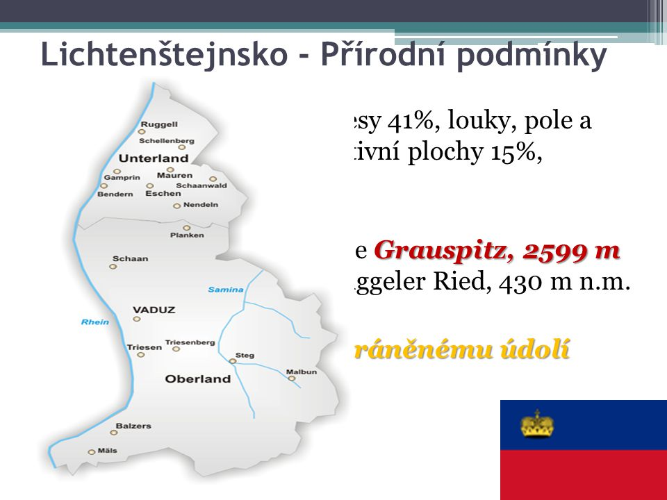 Lichtenštejnsko - Přírodní podmínky Rozlohu 160 km² tvoří lesy 41%, louky, pole a pastviny 34%, neproduktivní plochy 15%, zastavěné plochy 10% Grauspi