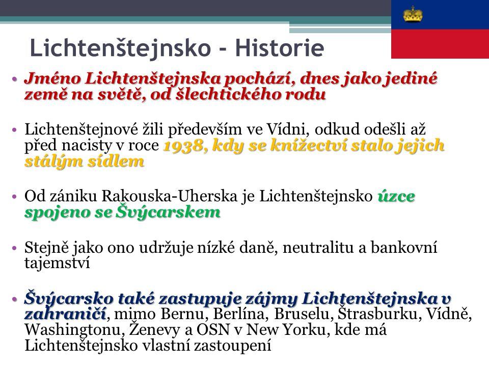 Lichtenštejnsko - Historie Jméno Lichtenštejnska pochází, dnes jako jediné země na světě, od šlechtického roduJméno Lichtenštejnska pochází, dnes jako