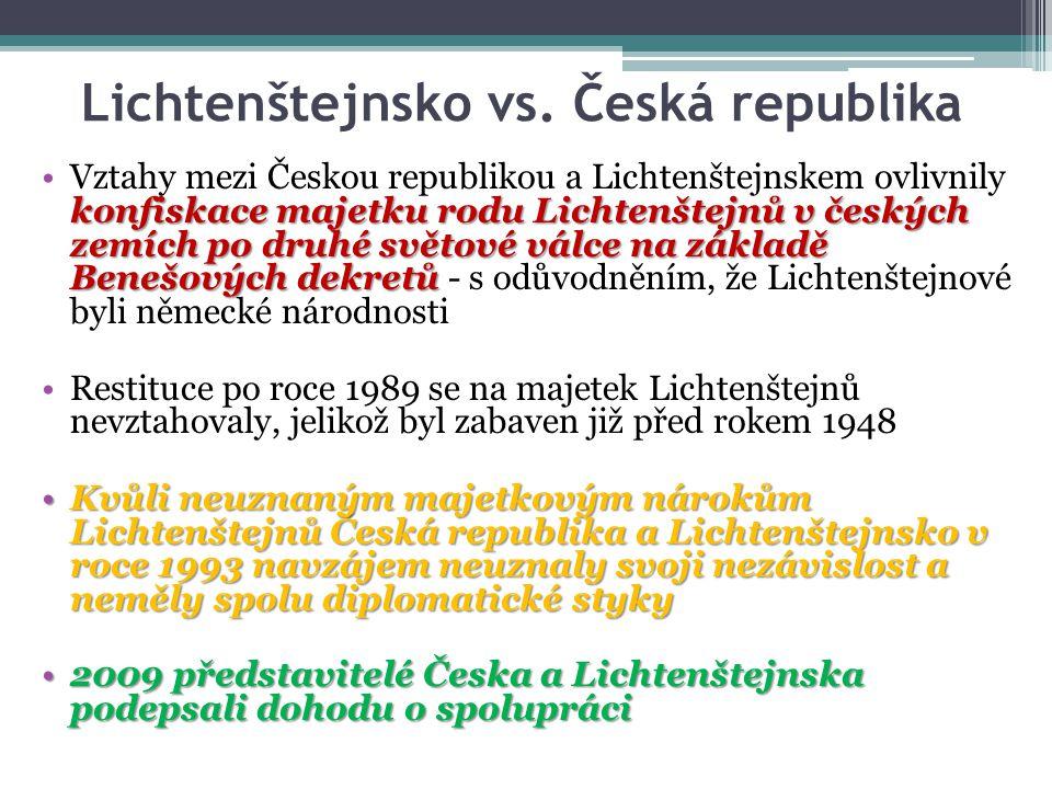 Lichtenštejnsko vs. Česká republika konfiskace majetku rodu Lichtenštejnů v českých zemích po druhé světové válce na základě Benešových dekretůVztahy