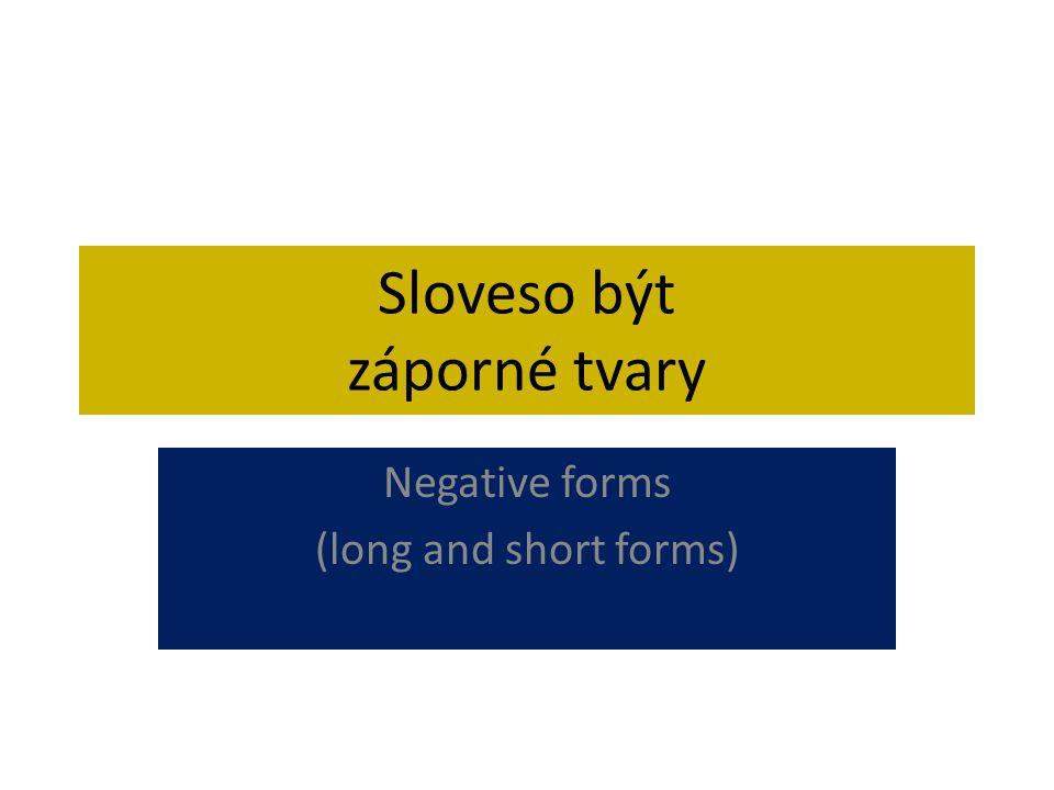 Sloveso být záporné tvary Negative forms (long and short forms)